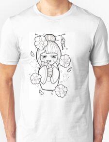 Geisha Flash Tattoo Black and White Unisex T-Shirt