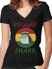 Reggae Shark Dreadlock Women's Fitted V-Neck T-Shirt