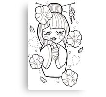 Geisha Flash Tattoo Black and White Canvas Print