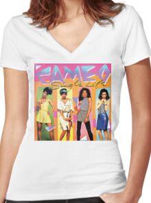 Funky 1980's Cameo vinyl Artwork Women's Fitted V-Neck T-Shirt