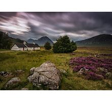 Glen Coe - Blackrock Cottage and Buachaille Etive Mor Photographic Print