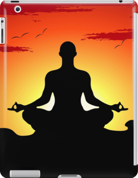 Male Yoga Meditating iPhone 5  Case /  iPad  Case / Samsung / Pillow / Tote Bag Galaxy Cases  / Duvet by CroDesign