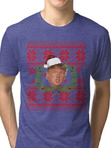 Ugly Christmas Sweater Nordic Knit Pattern Donald Trump  Tri-blend T-Shirt
