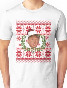 Ugly Christmas Sweater Nordic Knit Pattern Donald Trump  Unisex T-Shirt