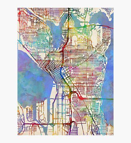 Seattle Washington Street Map Photographic Print