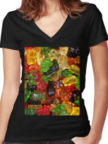 cute colorful sweet candy gummy bear  Women's Fitted V-Neck T-Shirt