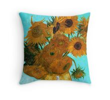 Van Gogh - Still Life Vase with 12 Sunflowers Throw Pillow