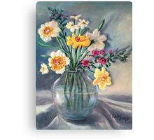 Spring Beauties In A Glass Vessel Canvas Print