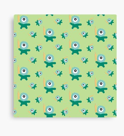 Green kitchen Monster   Canvas Print