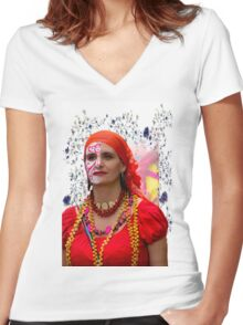 Dancer In The Pase Del Nino Parade V Women's Fitted V-Neck T-Shirt
