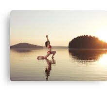Woman practicing yoga on the water Anjaneyasana Low Lunge pose art photo print Canvas Print