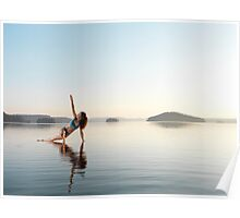Woman practicing Hatha yoga on a platform in the water Triangle pose art photo print Poster