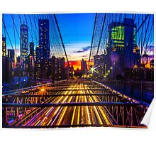 Sunset over the Brooklyn Bridge facing manhattan with lights of passing by cars underneath the bridge Poster