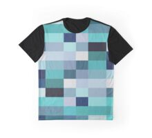 Abstraction #026 Blue White Blocks Graphic T-Shirt