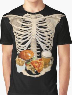 funny halloween Fast Food in Human Skeleton  Graphic T-Shirt