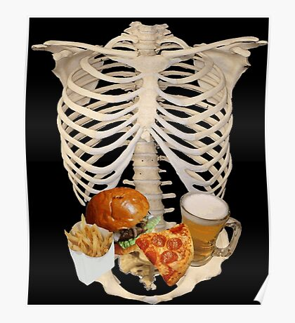 funny halloween Fast Food in Human Skeleton  Poster