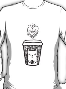 doodle coffee cat T-Shirt