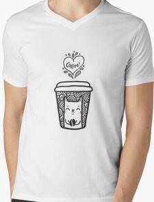 doodle coffee cat Mens V-Neck T-Shirt