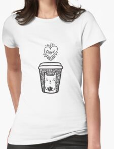 doodle coffee cat Womens Fitted T-Shirt