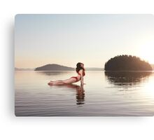 Woman practicing yoga on platform in the water Upward Facing Dog pose art photo print Canvas Print