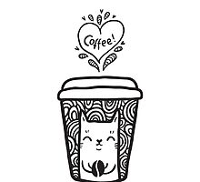 doodle coffee cat by Anna Alekseeva