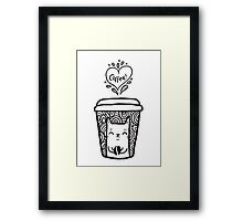 doodle coffee cat Framed Print