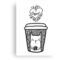 doodle coffee cat Canvas Print