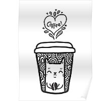 doodle coffee cat Poster