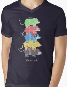 Lion Stack Mens V-Neck T-Shirt