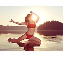 Woman practicing yoga on the water doing Pigeon pose in morning sunlight art photo print Photographic Print