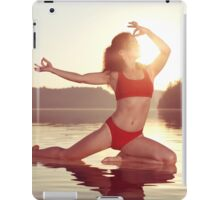 Woman practicing yoga on the water doing Pigeon pose in morning sunlight art photo print iPad Case/Skin