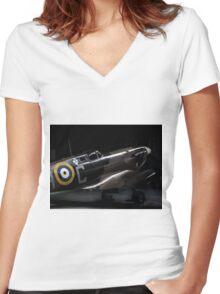 RAF Spitfire in the Hanger Women's Fitted V-Neck T-Shirt