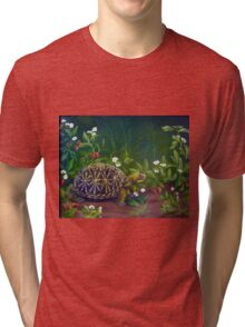 Florida Box Turtle, Strawberries and Blooms Tri-blend T-Shirt