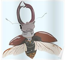 painted stag-beetle in fly Poster