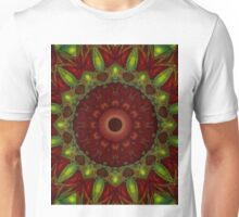Mandala in blood red and green tones Unisex T-Shirt