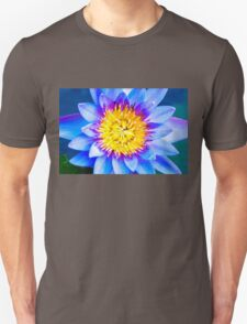 Close-up shot of purple water lily with blue petals Unisex T-Shirt