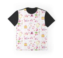 Pink Puff Pattern (white version) Graphic T-Shirt