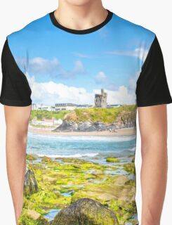 seaweed covered rocks with castle Graphic T-Shirt
