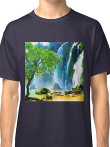 Beautiful,water color,hand painted,land scape,waterfall,tree,nature Classic T-Shirt