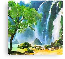 Beautiful,water color,hand painted,land scape,waterfall,tree,nature Metal Print