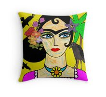 Frida Kahlo With Ravens Throw Pillow