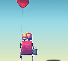 Little Red Birthday Robot 3 by mdkgraphics