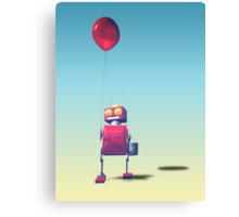 Little Red Birthday Robot 3 Canvas Print