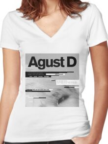 SUGA - AGUST D  Women's Fitted V-Neck T-Shirt