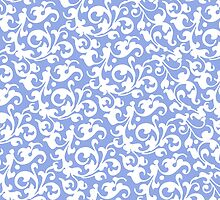 Pretty Blue and White Damask by AntiqueImages