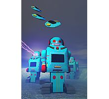 Toy Robos on the Attack Photographic Print