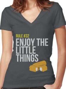 Zombie Survival Guide - Rule #32 - Enjoy the Little Things Women's Fitted V-Neck T-Shirt