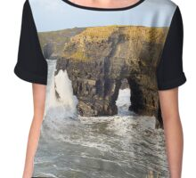 sepia virgin rocks with giant storm waves Chiffon Top