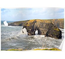 sepia virgin rocks with giant storm waves Poster
