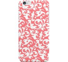 Pretty Coral Damask iPhone Case/Skin